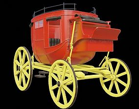 3D asset realtime old stagecoach wagon carriage
