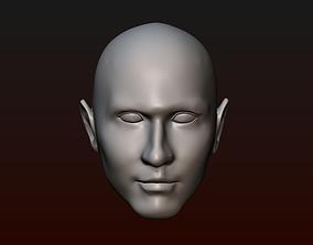 Male head 25 bald head 3D print model man