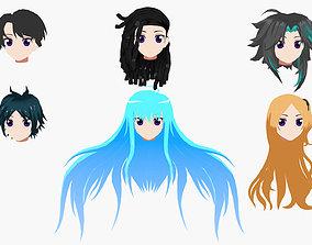 Anime Hair 3D asset VR / AR ready