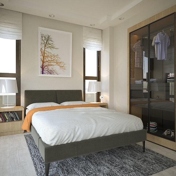 Realistic minimalist bedroom