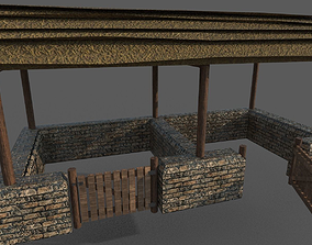 3D asset low-poly Medieval Stable
