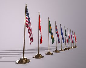 Flags for the table on the stand 3D asset