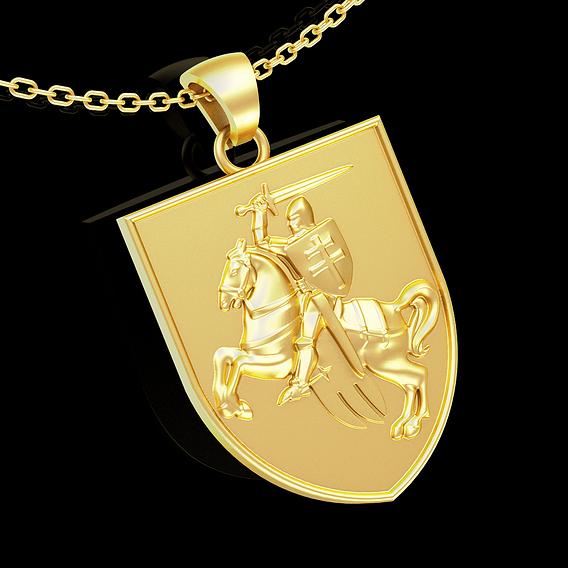 Gerb Polsko Litovskogo Knyazhestva pendant jewelry gold necklace 3D print model