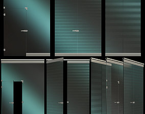 Glass Partition Wall with door 3D