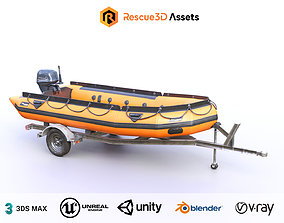 3D model Lifeguard Rescue Boat With Trailer