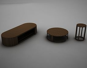 3D model wood coffe table collection