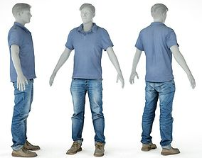 Male Casual Outfit 51 Shirt Jeans Footwear 3D model