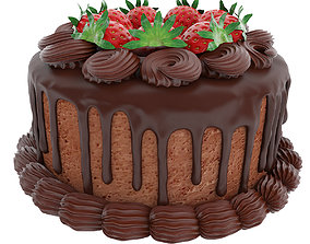 Chocolate strawberry cake 3D