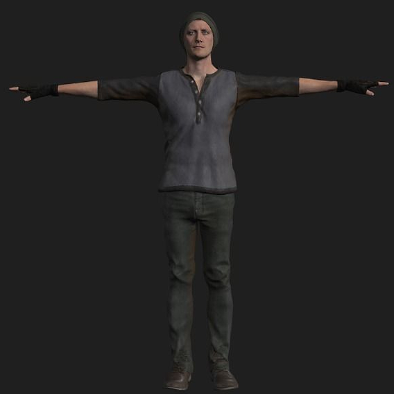 Game-Ready PBR Male survivor Rigged and Animated