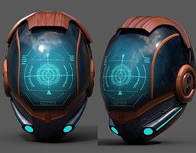 Helmet scifi fantasy pilot cyborg robot 3D asset 2