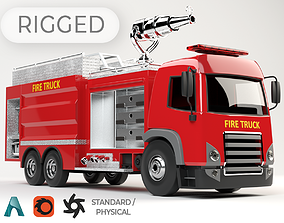 rigged 3D model of rigged Fire Truck cartoon ready to