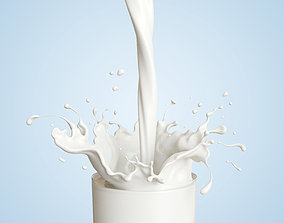 Milk splash 3d model drink