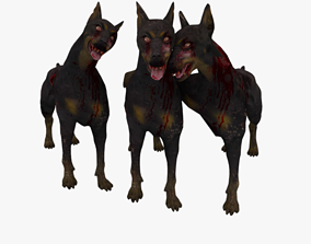 3D asset Lovely Zombie Dog game ready low poly rigged