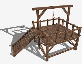 Low Poly PBR Gallows 3D asset