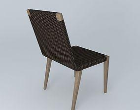 Qunita Teak Woven Side Chair 3D