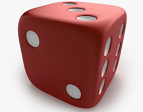 3D Red Playing Dice