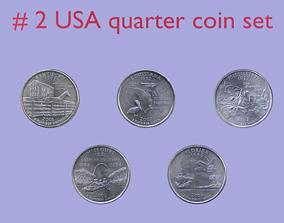 USA quarter coin - set model 2 3D