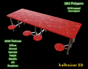 3D asset Cafeteria Table - PBR - Textured