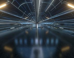 3D model Light shuttle racing science fiction tunnel