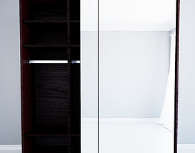 The custom made wardrobe with glass doors in wenge 3D