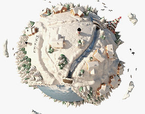 3D Cartoon Planet Winter planet