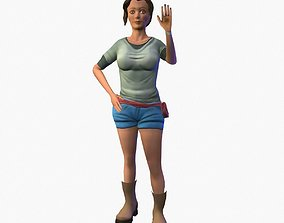 3D asset Animated Girl tourist