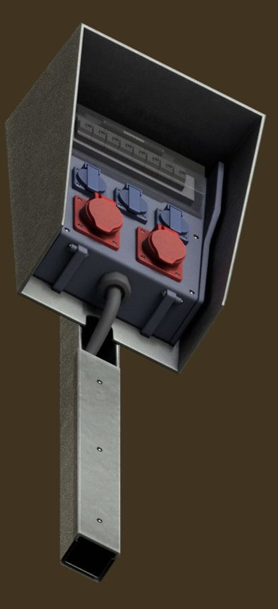 Power sockets distributor box with fuse module updated for use in Blender-2-93