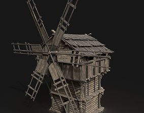 3D model Medieval Wooden Fantasy Viking Windmill Silo 2