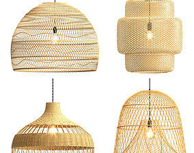 Collection rattan pendant lights 3D