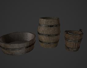Medieval Wooden Barrel Bucket Tub 3D model