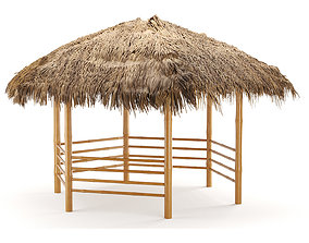 bamboo roof beach restaurant shelter gazebo 3D