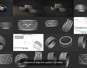 3D model collection of rings with a pattern