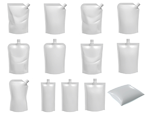 3D Blank Pouch Bags With Spout Lid Mock Up
