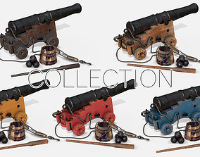 Old Naval Cannons Collection 3D
