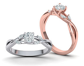 Crossover Engagement ring Love ring 3dmodel round-stone