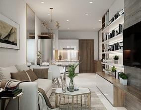 Living Room and Kitchen Vray 3D model 3D model