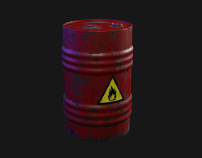 3D model game-ready Oil barrel wine