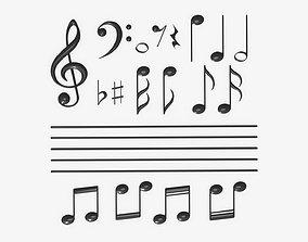 Musical notation symbols 3D model
