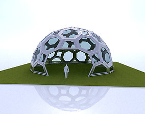 Geodesic Dome with square and pentagonal frame 3D model 2