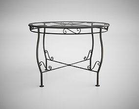 Vintage Wrought Iron Table patio 3D