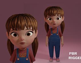 Cute cartoon girl 3D model