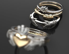 3D printable model CLADDAGH 2 colors 3 part folding RING