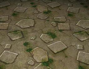3D ground stone grass tile 19