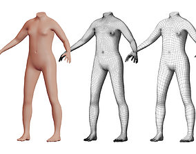 Character 09 High and Low-poly - Body Female 3D