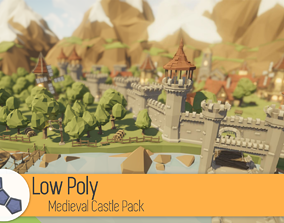 3D asset Low Poly Medieval Castle Pack