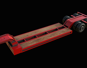 Lowboy Trailer PBR 3D model
