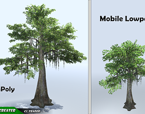 low-poly Tree Vines Mobile Lowpoly Kapok Tree Set 3D Model