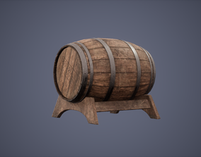 Barrel and Holde Set Low Poly Game Ready 3D asset