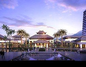 3D model Modern luxury hotel building 004