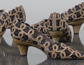 Curly Dancing Shoes Black and Gold Pumps 3D asset